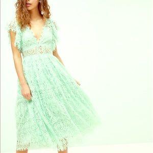ASOS mint green lace midi dress